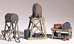 Fuel Stands (3) HO -- HO Scale Model Railroad Building Accessory -- #d212