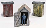 Outhouses (3) & Man -- HO Scale Model Railroad Building -- #d214