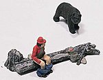 Bare Hunter -- HO Scale Model Railroad Figure -- #d227