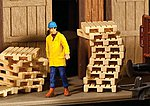 Wood Pallets Kit (12) -- HO Scale Model Railroad Building Accessory -- #4129