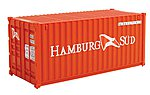 20' Corrugated Container Hamburg Sud -- HO Scale Model Train Freight Car Load -- #8058