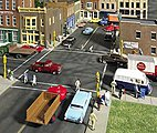 Asphalt Street System - Straight Sections pkg(8) -- HO Scale Model Railroad Road Accessory -- #3195