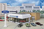 Wayne Bros. Ford Dealership - Kit -- HO Scale Model Railroad Building -- #3483