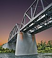 Double-Track Railroad Bridge Concrete Piers pkg(2) Kit -- HO Scale Model Railroad Bridge -- #4552