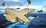 F18 Hornet Fighter (8'' Wingspan) -- Wooden 3D Jigsaw Puzzle -- #1239
