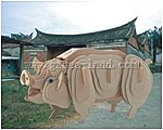 Pig Skeleton Puzzle (10'' long) -- Wooden 3D Jigsaw Puzzle -- #1266