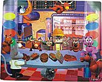 Cartoon Boy with Animals In Fast Food Restaurant (48pc) -- Wooden Jigsaw Puzzle -- #2010