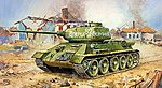 Soviet Tank T34/85 -- Plastic Model Military Vehicle Kit -- 1/100 Scale -- #6160