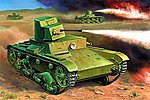 Soviet Flamethrower Tank T-26 Snap Kit -- Plastic Model Tank Kit -- 1/100 Scale -- #6165