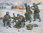 German 80mm Mortar w/Crew Winter Uniform (Snap) -- Plastic Model Military Figure -- 1/72 -- #6209