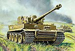 Tiger I German Heavy Tank WWII -- Plastic Model Military Vehicle Kit -- 1/100 Scale -- #6256