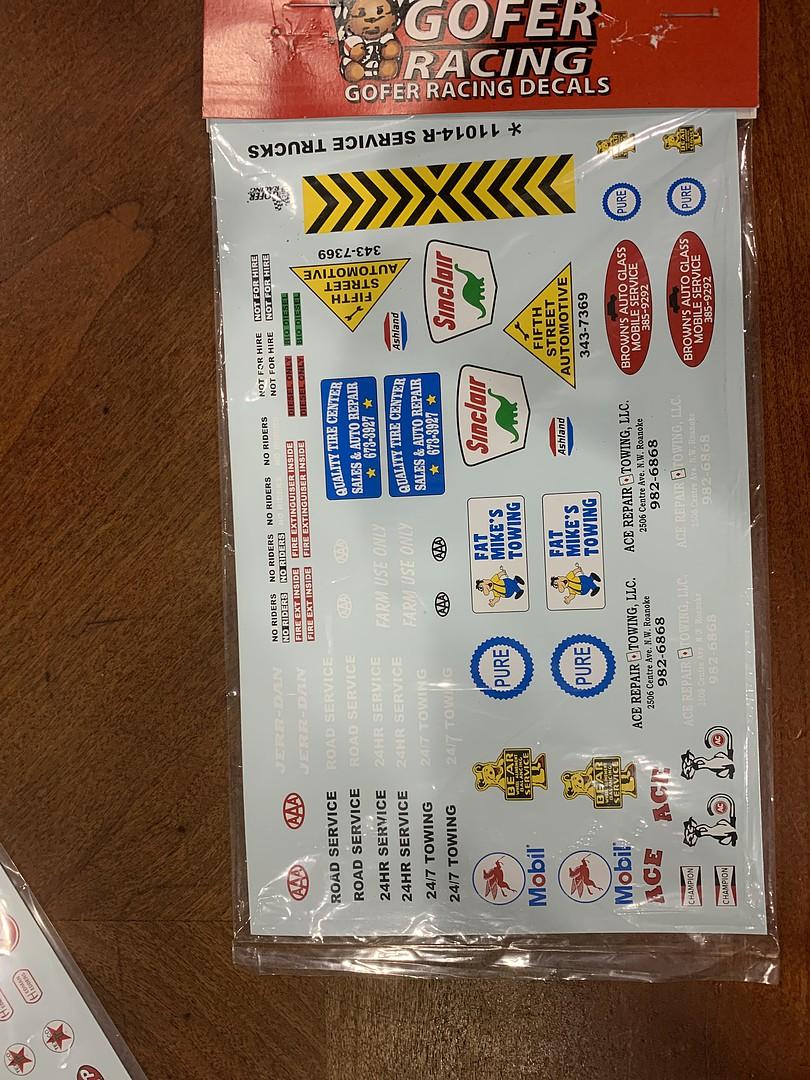 GOFER RACING 1//24-1//25 SERVICE TRUCK LOGOS11014
